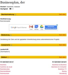Businessplan laut Duden (Quelle: duden.de