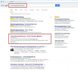 Google Ranking für das Suchwort Unternehmensberatung in Barnim. Ich optimiere Ihre Seite regional für Suchmaschinen