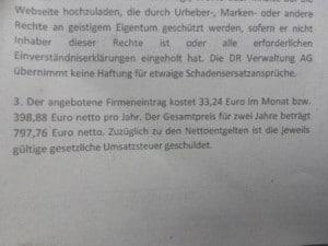 Kosten für einen Eintrag durch die DR Verwaltung AG bei USTID-Nr.de