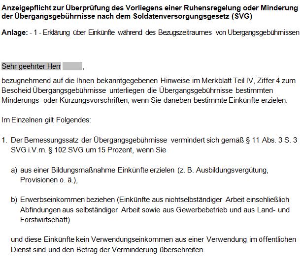 BVA / WBV Regelung zur Minderung von Übergangsgebührnissen.
