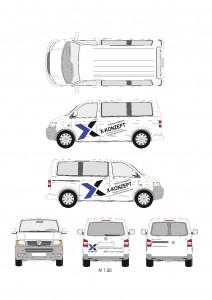 operatives Marketing auf einem Firmenfahrzeug der Unternehmensberatung X-Konzept Barnim auch in Eberswalde, Panketal. Wandlitz und Bernau