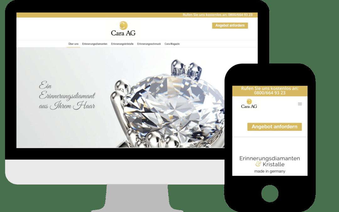 Webdesign für Cara AG Erinnerungsdiamanten & Kristalle in Potsdam