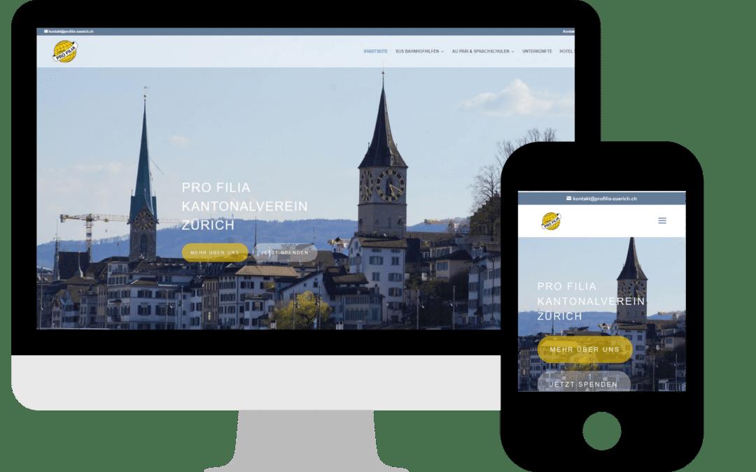 Webdesign für PRO FILIA Zürich