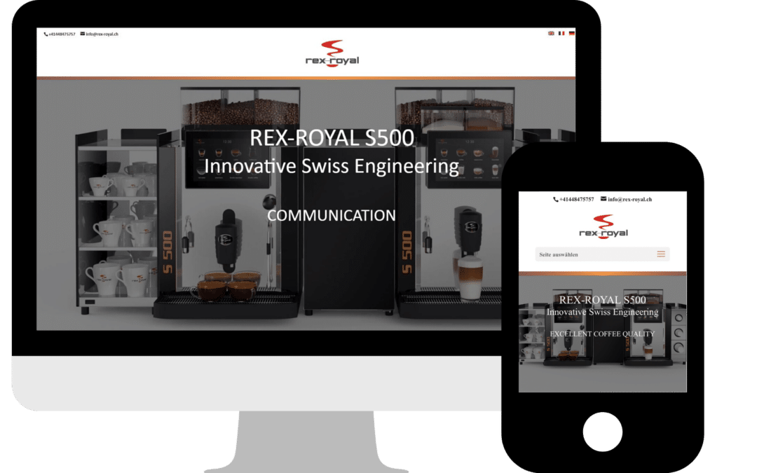 Webdesign Landingpage Rex-Royal AG Schweiz